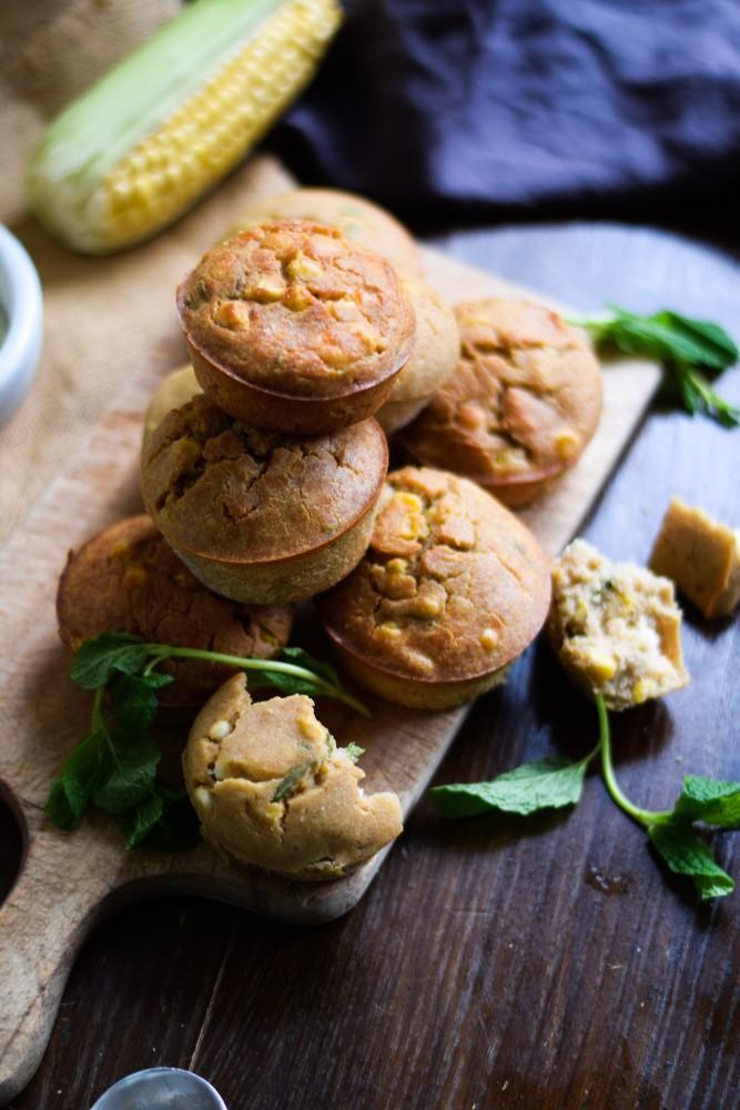 Savoury Teff Sweet Corn, Fetta And Mint Muffins