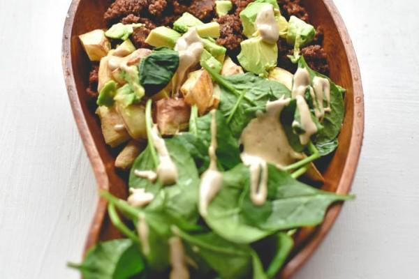 Teff, Avocado, Potato and Spinach Salad with Tahini Dressing