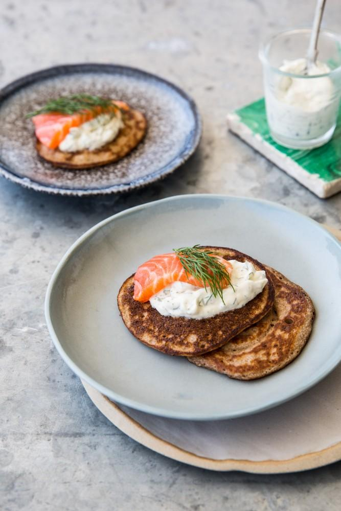 Teff Blini's with Cured Trout