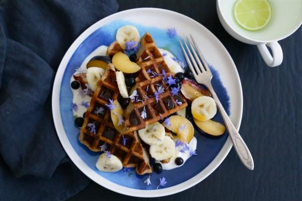Teff and Banana Waffles