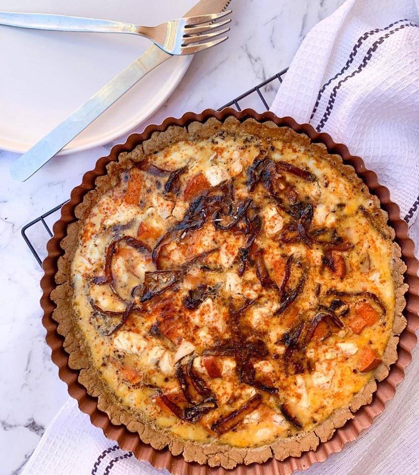 Caramelised Onion, Feta & Sweet Potato Tart
